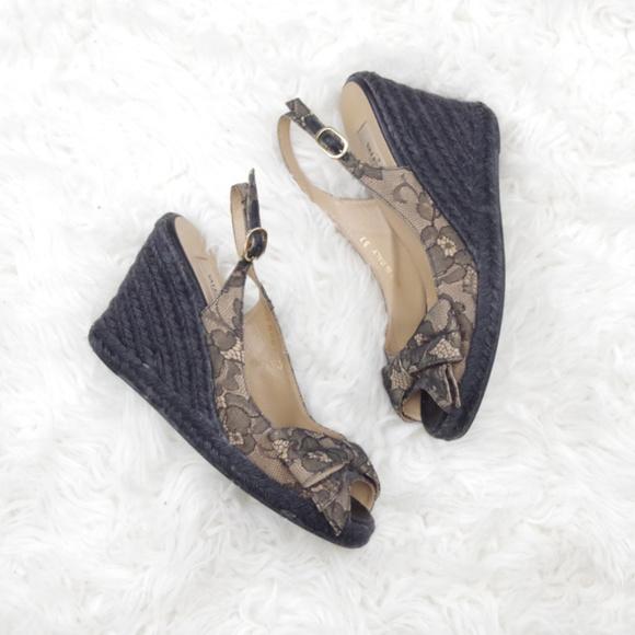 Valentino Mena Lace Espadrille Wedge Heels Black
